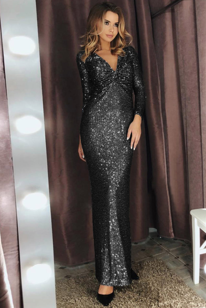 Black Long Sleeve V Neck Twist Ruched Sequin Party Maxi Dress