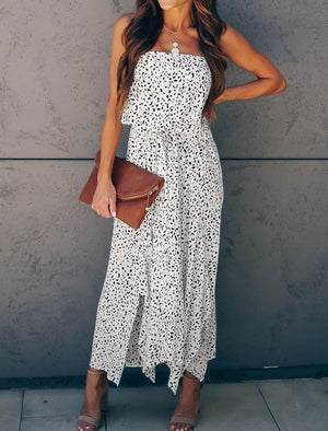 White Strapless Cheetah Dress