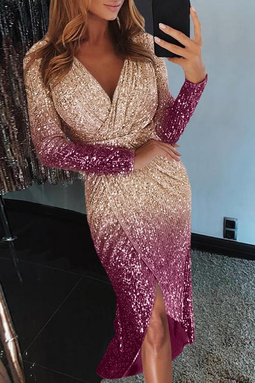 Apricot Ombre Sequin Wrapped Ruched Irregular Dress