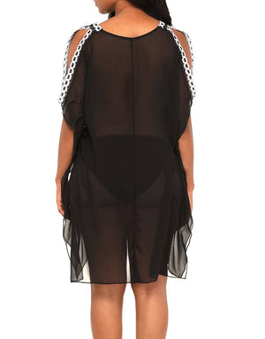 Delicate Embroidery Black Cold Shoulder Sheer Mesh Cover Up