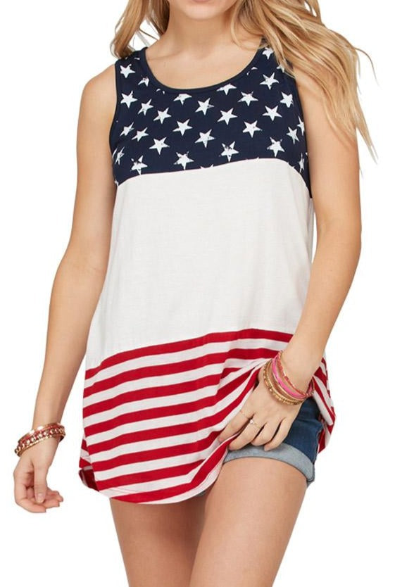 White Sleeveless Colorblock American Flag Print Tunic Top