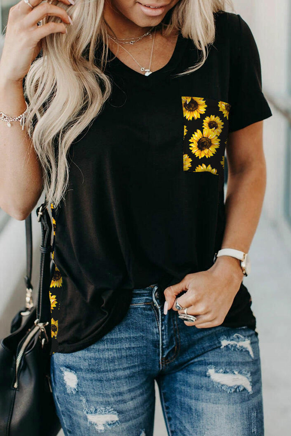 Yellow Leopard Printed Splicing T-Shirt