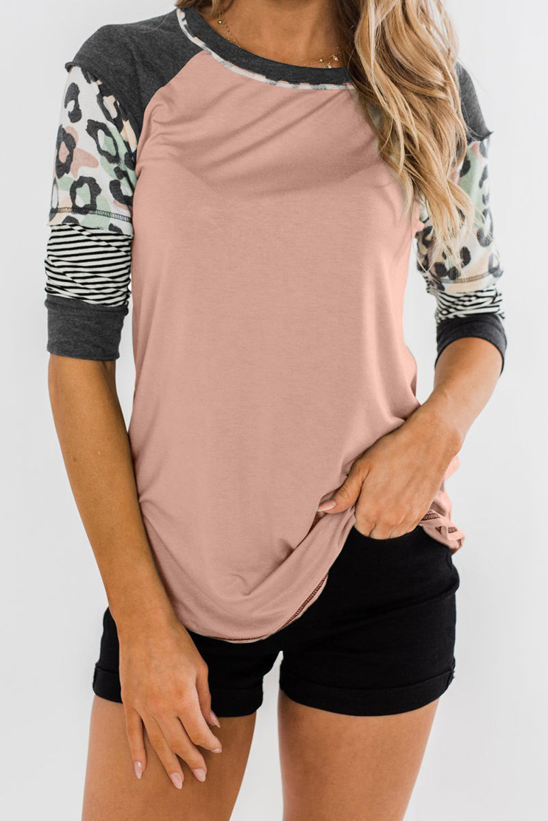 Pink Printed Raglan Sleeve Top