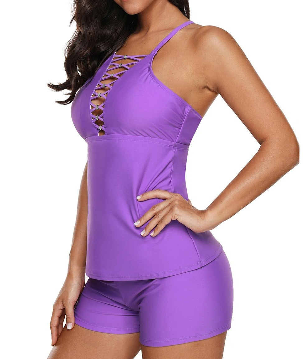 Violet Beaded Crisscross Tankini and Short Swimsuit