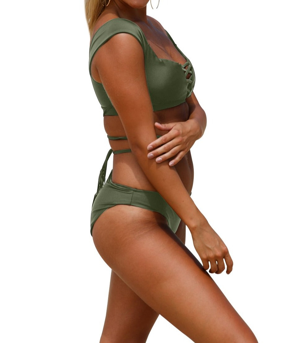 Army Green Strappy Crisscross 2pcs Tankini Swimsuit