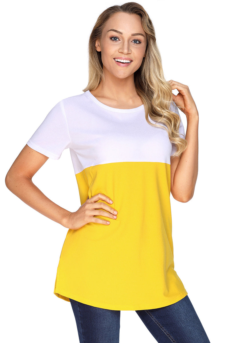 Mustard White Colorblock Pocket Tunic