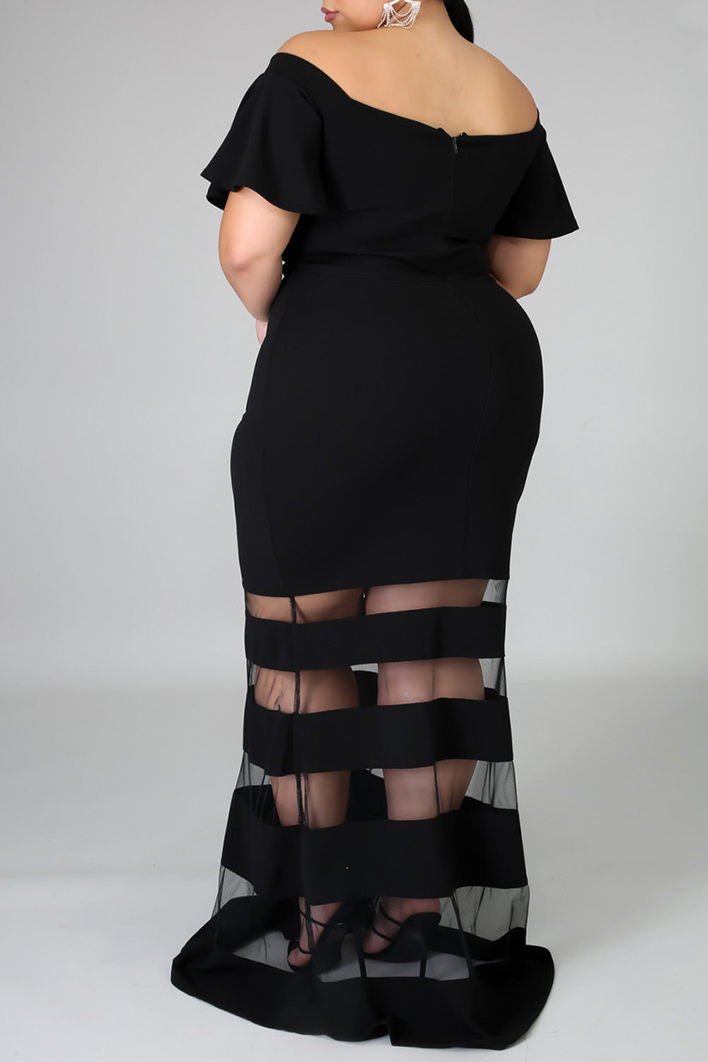 Black Plus Size Off Shoulder Banded Maxi Dress