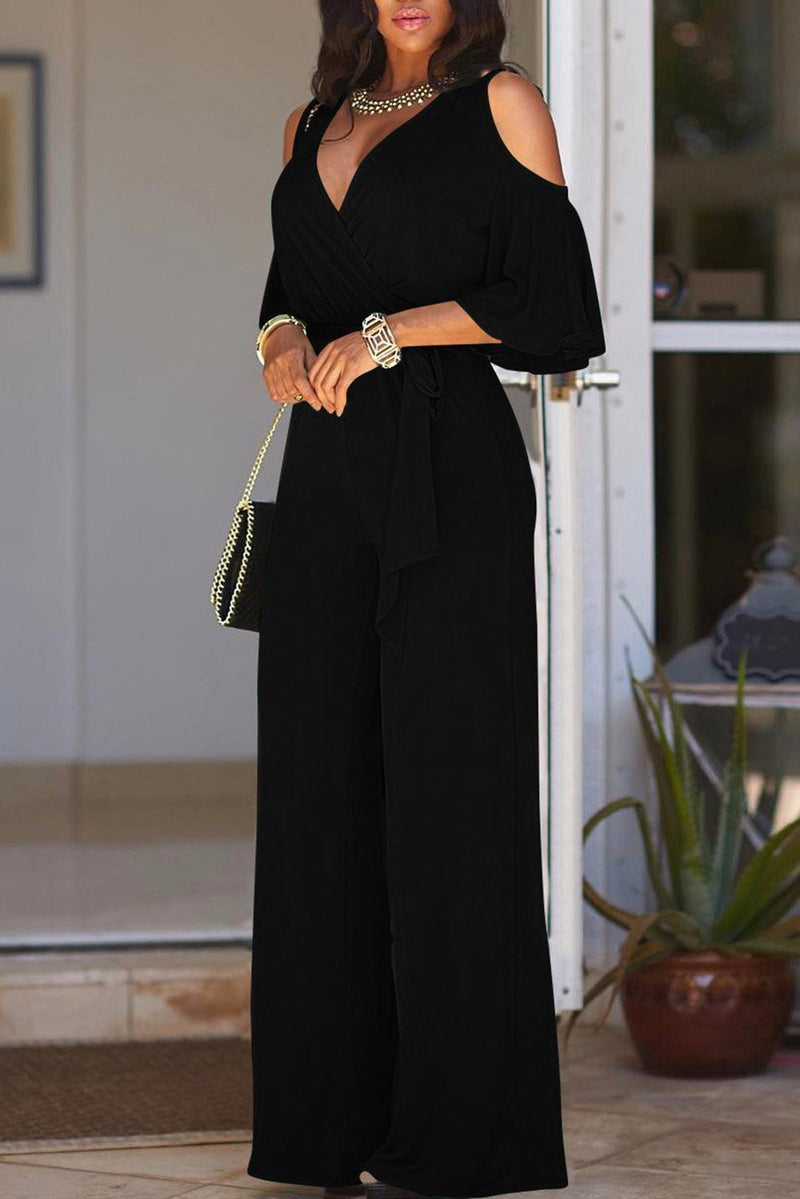 Black V Neck Straps Wide Legs Long Jumpsuit
