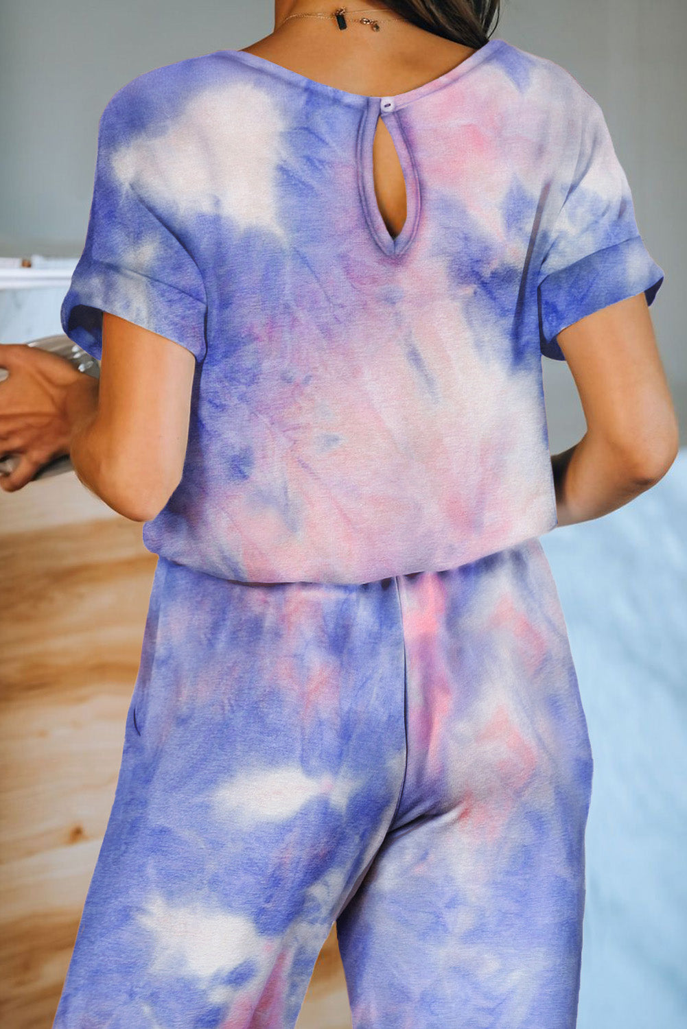 Multicolor Pocketed Tie-dye Knit Jumpsuit