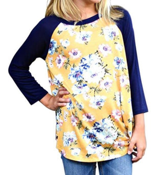 Yellow Kids Floral Baseball Top