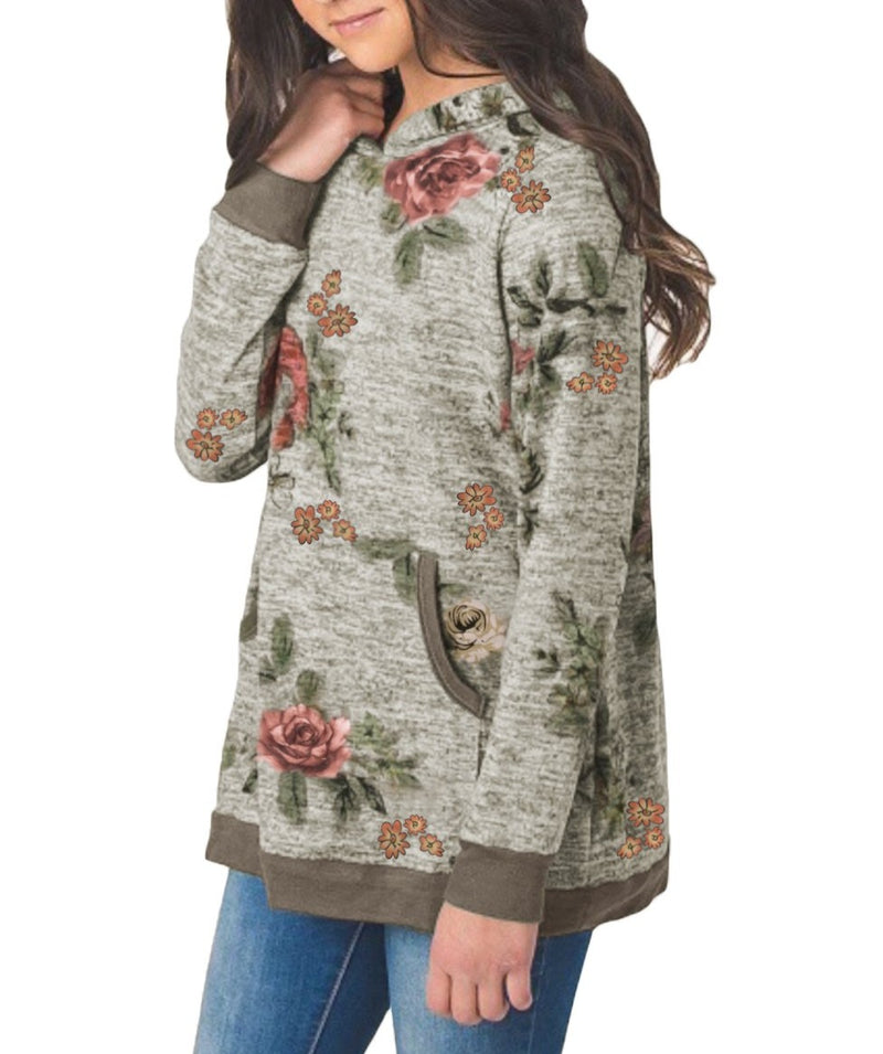 Little Girls' Gray Floral Hoodie