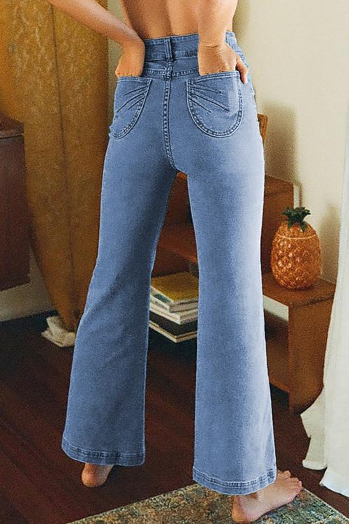 Sky Blue High Waist Flared Jeans