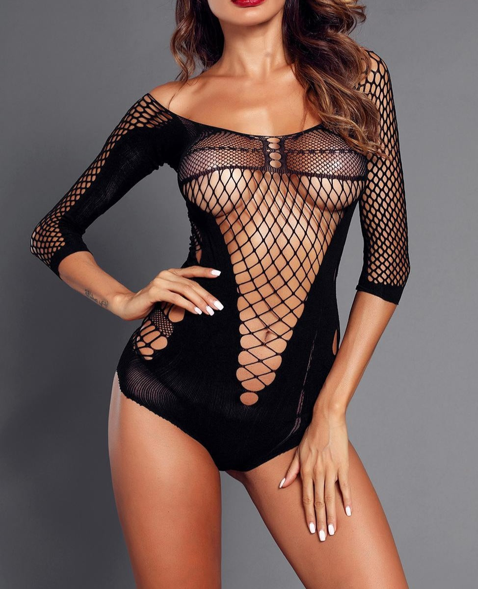 Black Quarter Sleeve Off Shoulder Hollow-Out Mesh Teddy
