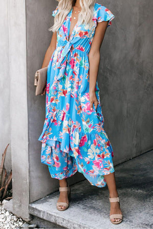 Sky Blue Floral High Low Pocketed Tie Maxi Dress