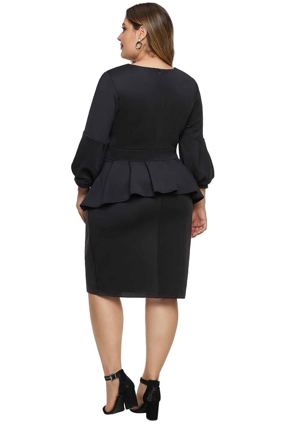Black Bell Sleeve Plus Size Peplum Dress
