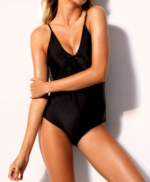 Black Grommet Lace Up One-piece Swimsuit