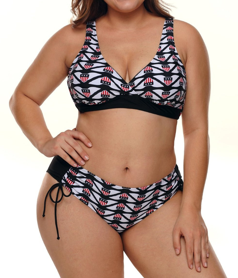 Designful Flag Print Plus Size Bikini Swimsuit