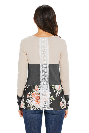 Grey Color Block Floral Patchwork Long Sleeve Blouse Top