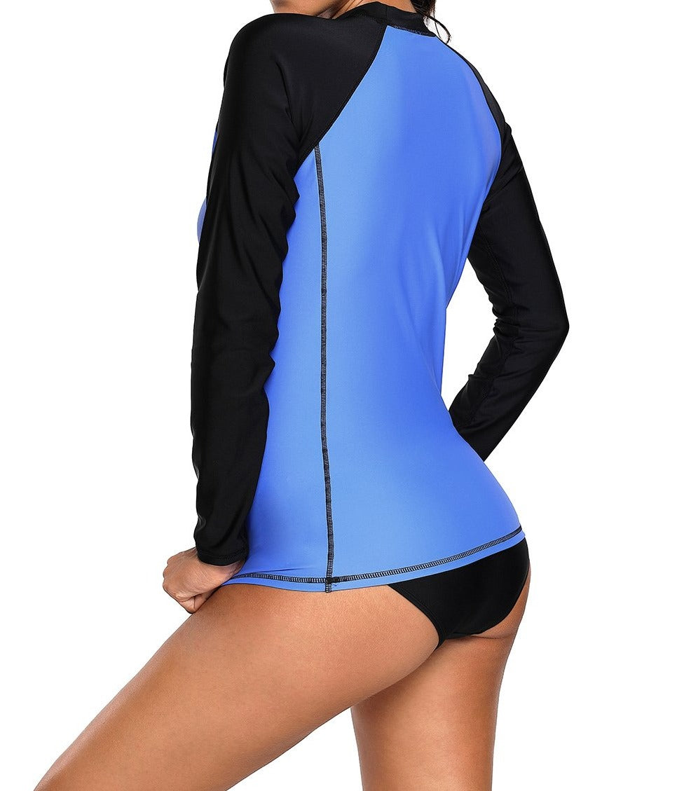 Blue Black Long Sleeve Tankini Swim Top