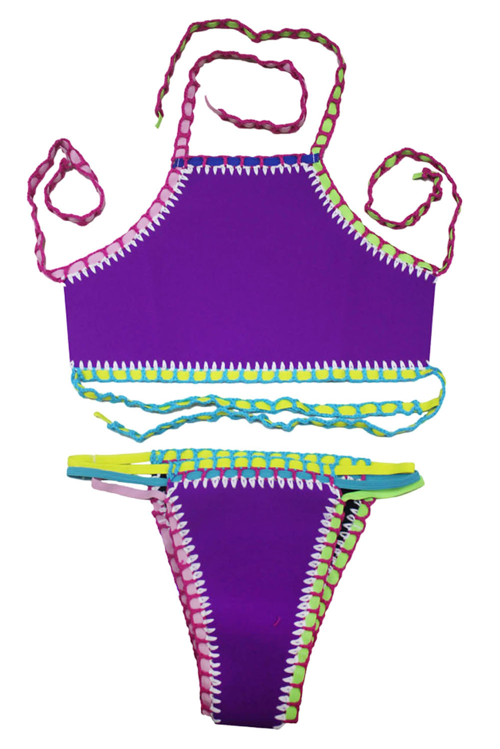 Purple Handmade Crochet Neoprene Tankini Swimsuit
