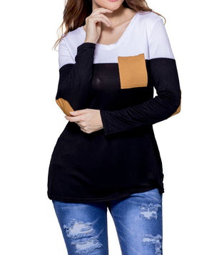 Black White Color Block Patch Insert Long Sleeve Blouse Top