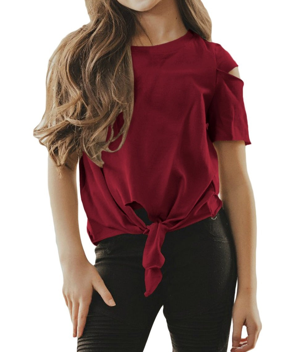 Burgundy Cut Out Shoulder Tie Front Tee