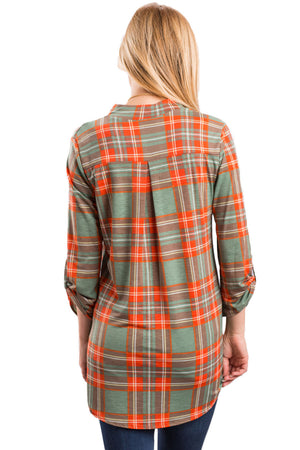 Orange Grassy Plaid Long Sleeve Preppy Blouse