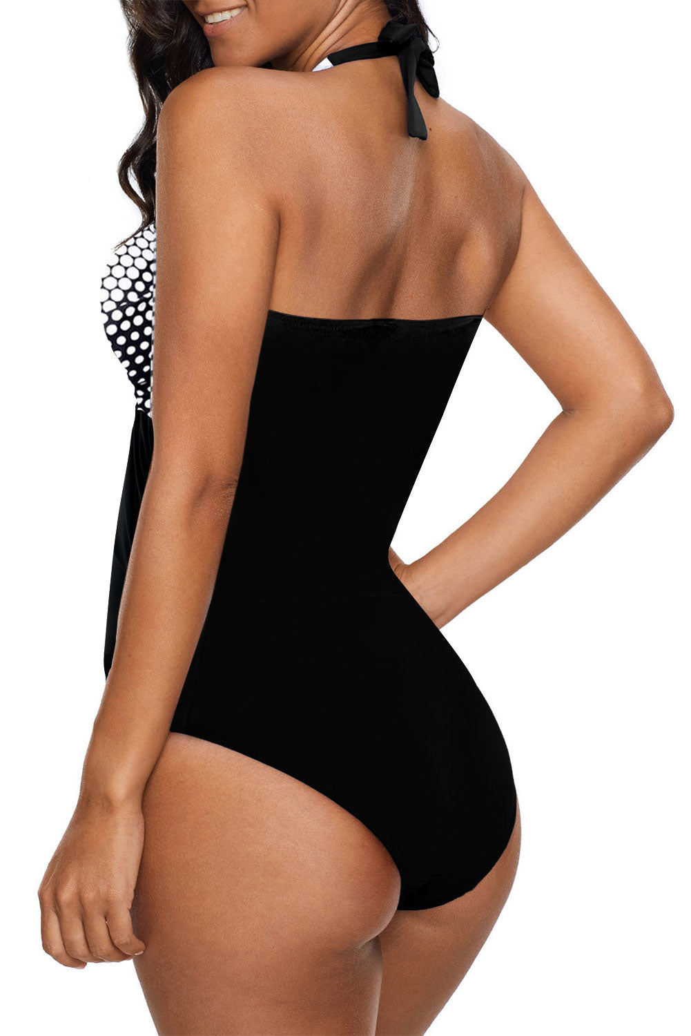 Black Halter Dot Print One Piece Swimwear