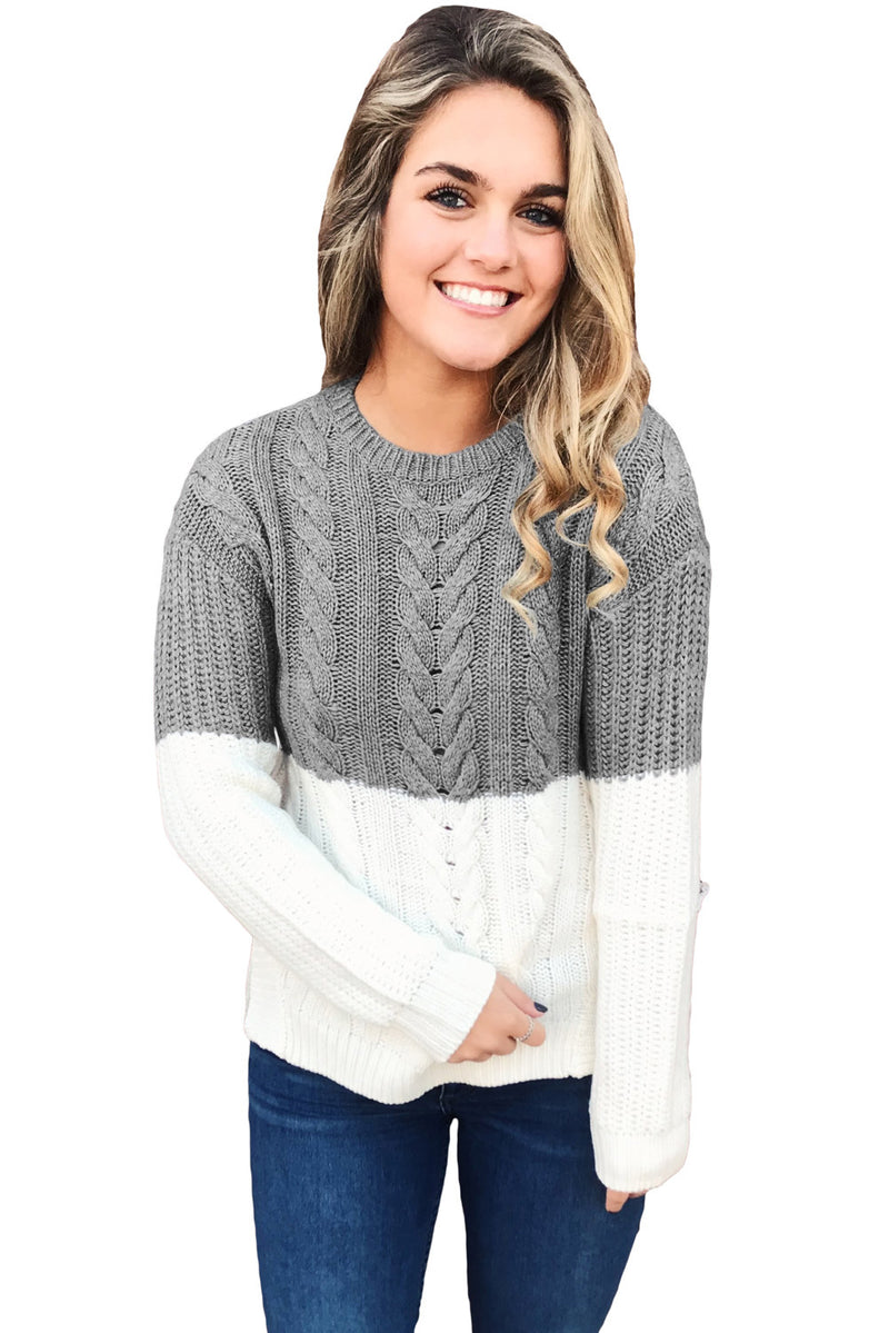 Gray White Colorblock Cable Knit Sweater