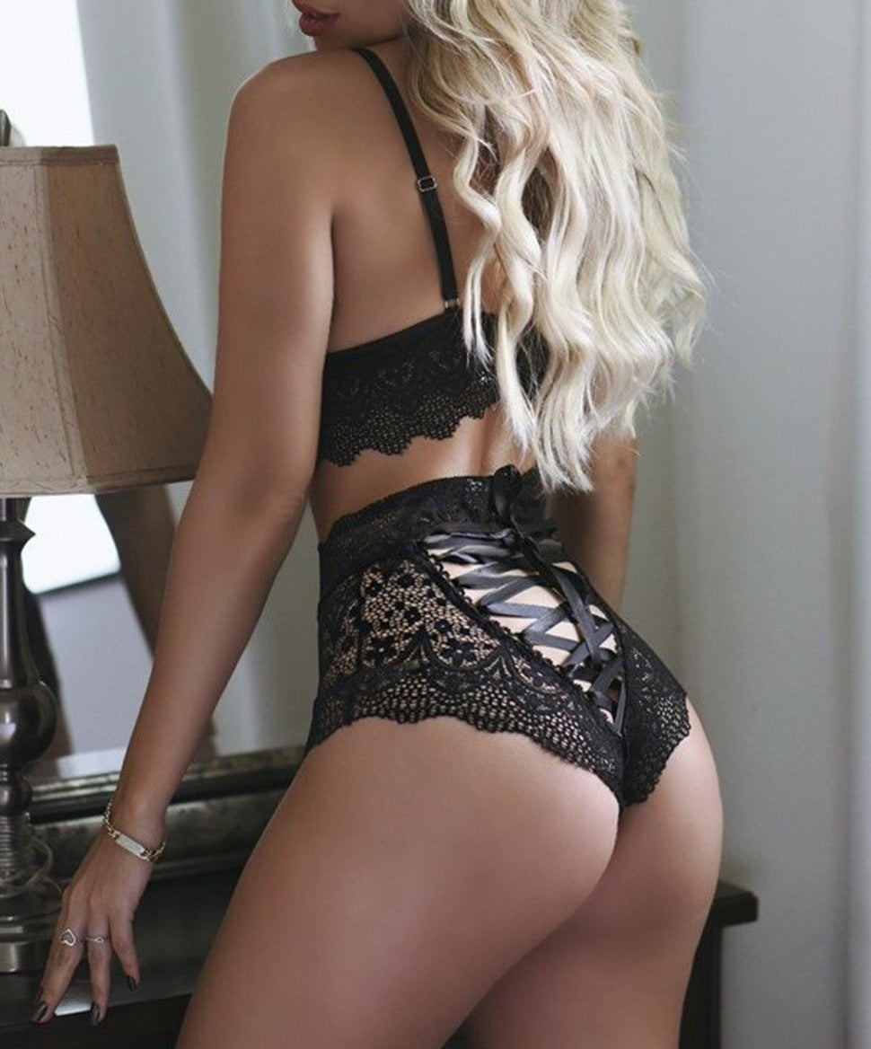 Strappy Lace Bralette High Waist Lace Up Panty Set
