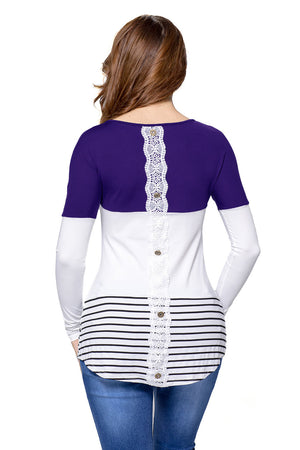 Blue Color Block Lace Patchwork Long Sleeve Blouse Top