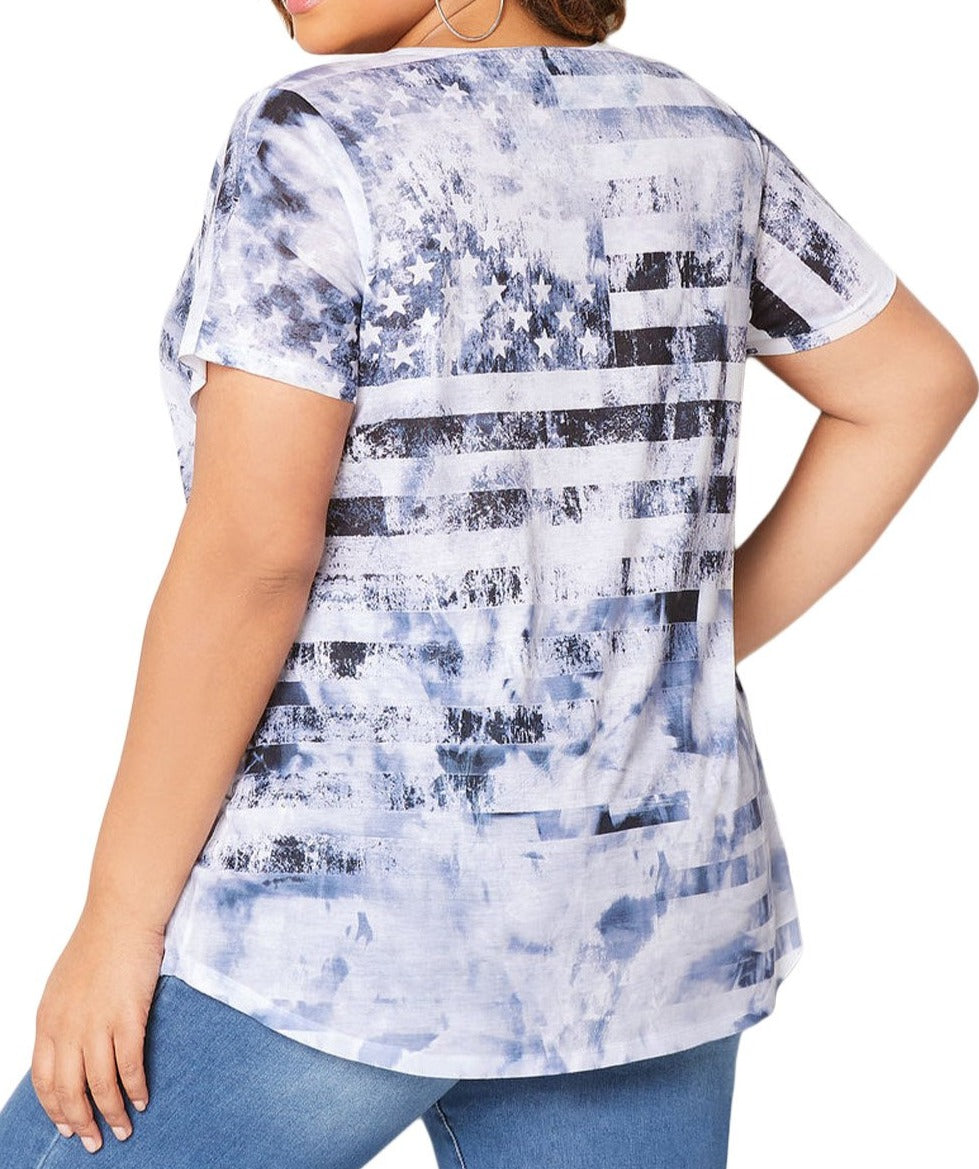 Light Blue American Dream Tie Dye Plus Size Tee