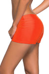 Orange Wide Waistband Swimsuit Bottom Shorts
