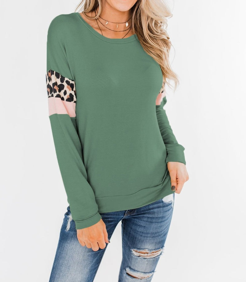 Mint Long Sleeve Leopard Stripes Blouse