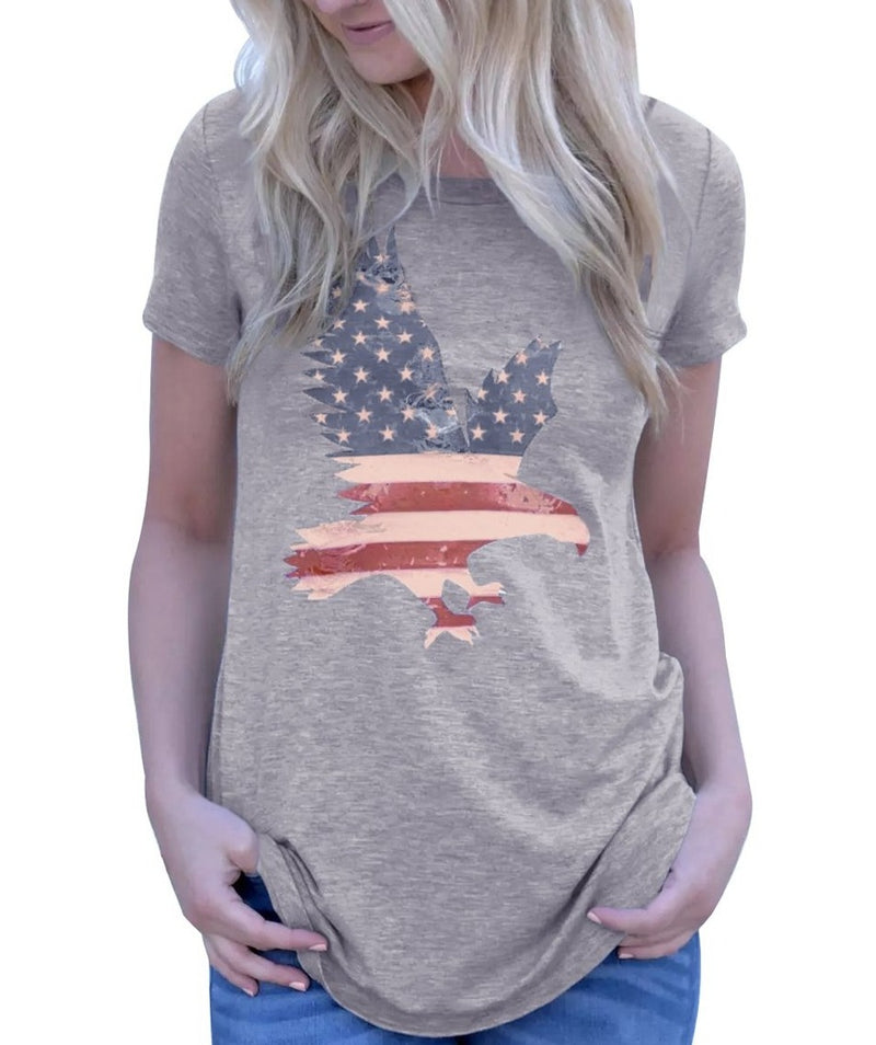 America Flag Eagle Grey Daily T-shirt