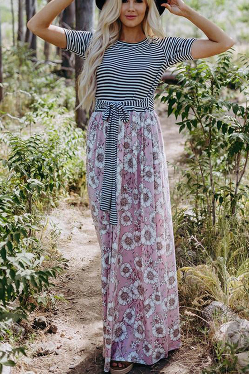 Pink Floral Print Striped Belt Pockets Maxi Dress