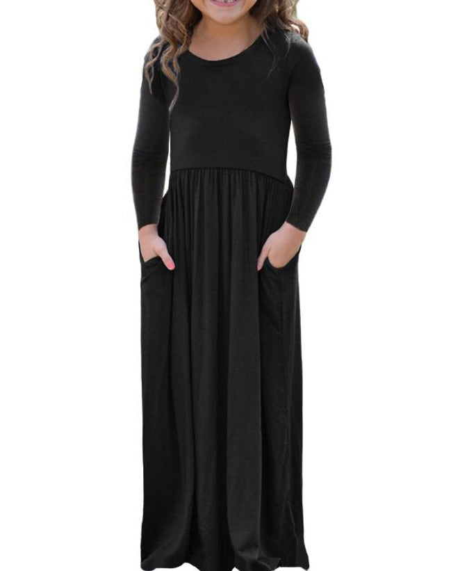 Black Long Sleeve Pocket Design Girls Maxi Dress