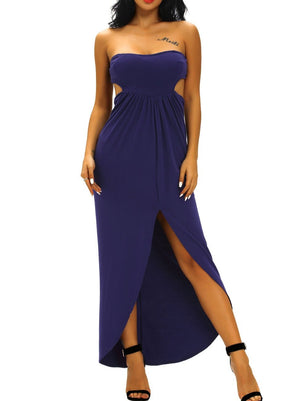 Navy Blue Draped Hollow-out Maxi Dress