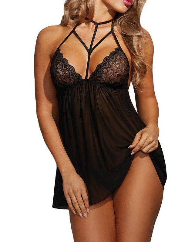 Black Harness Babydoll