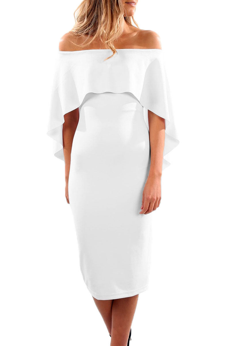 White Luxurious Off Shoulder Batwing Cape Midi Poncho Dress