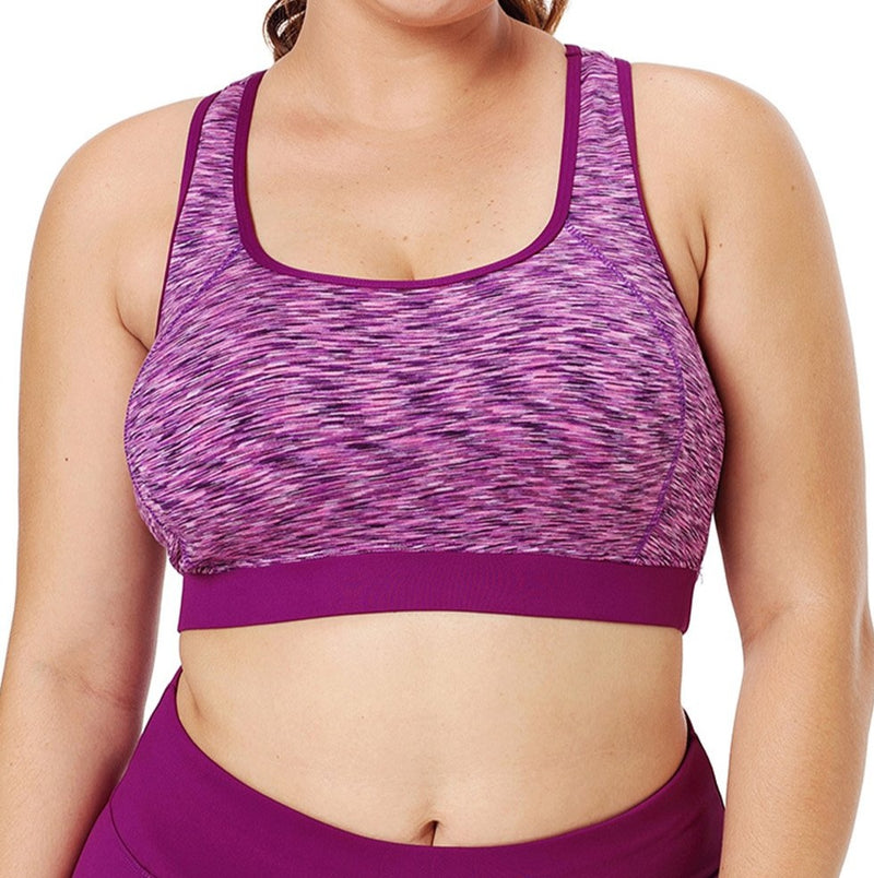 Rosy Piping Trim Racerback Workout Bra