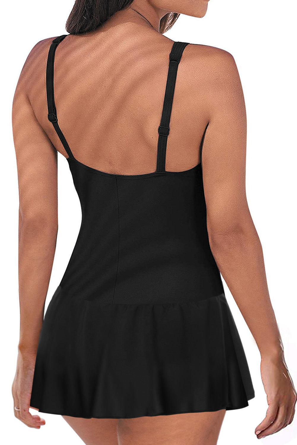 Black Padded Push up One Piece Swimdress
