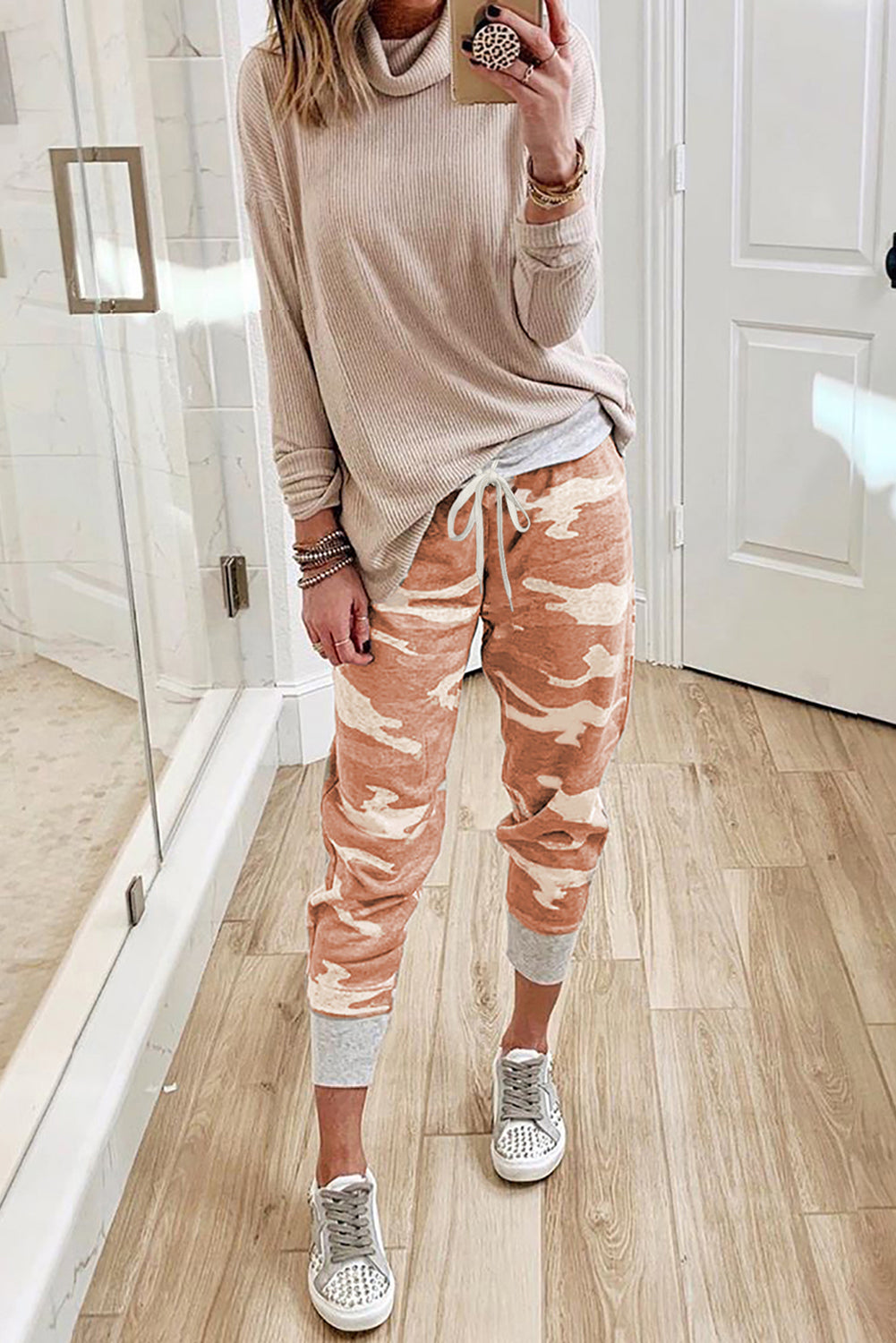 Orange Camo Print Knit Sport Pants