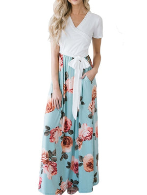 White Blue Floral Pocket Style Long Summer Dress