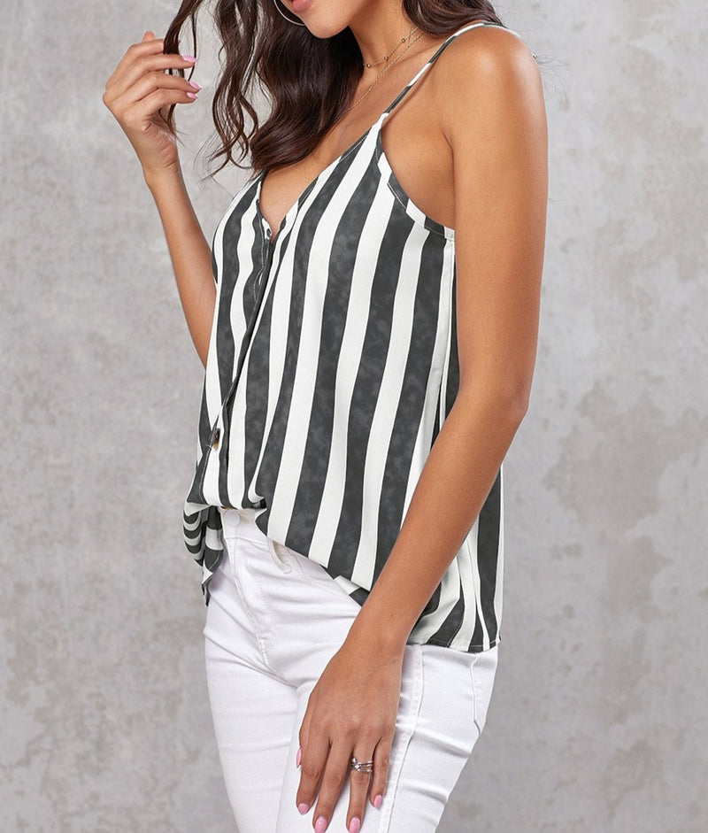 Black Button Up V Neck Strappy Shirt Cami Top