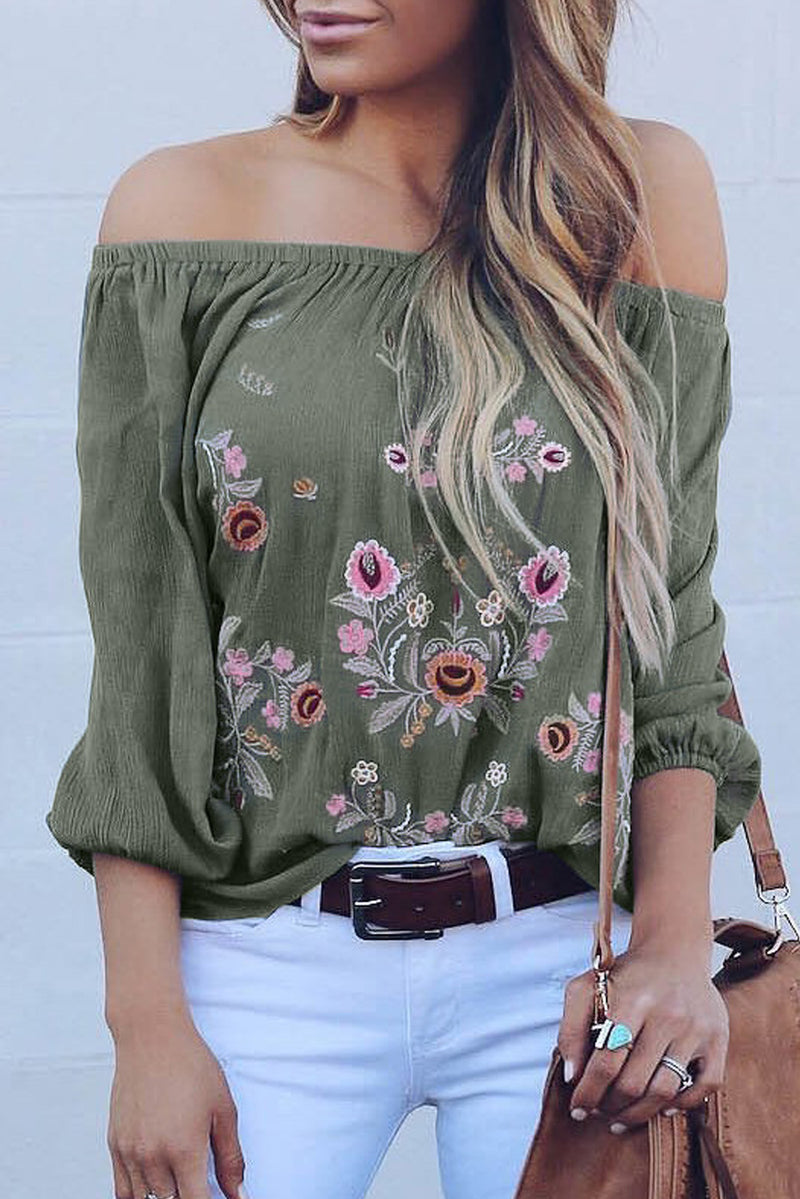 Green Embroidered Off Shoulder Long Sleeve Bohemian Floral Blouse