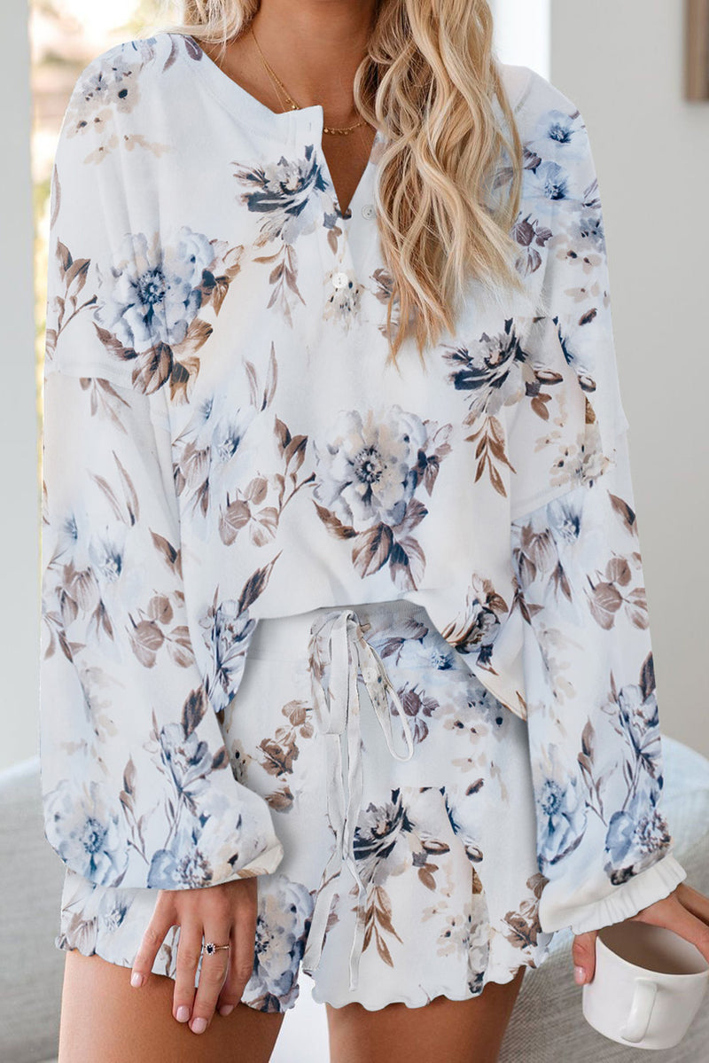 Floral Print White Knit Pajamas Set