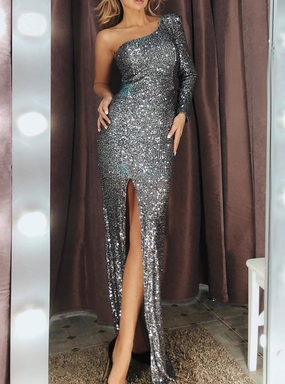 Silver Fortune One Shoulder Front Slit Sequin Gown