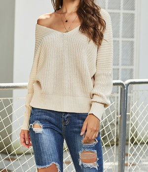 Apricot Carry On Knit V Neck Pullover Sweater