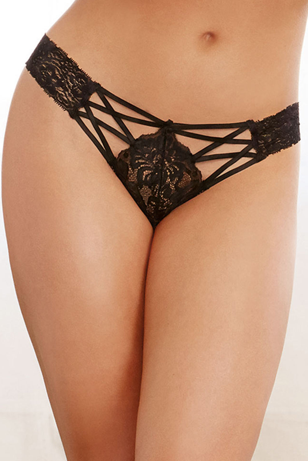 Black Criss-cross Lace Panty